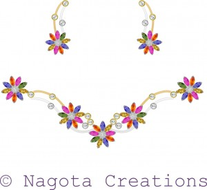 Necklace Set with White Gold , Yellow Gold , Multi Sapphire and Diamonds