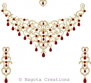 Gorgius and Beautiful Bridal Necklace Set of Yellow Gold , Ruby and Diamond