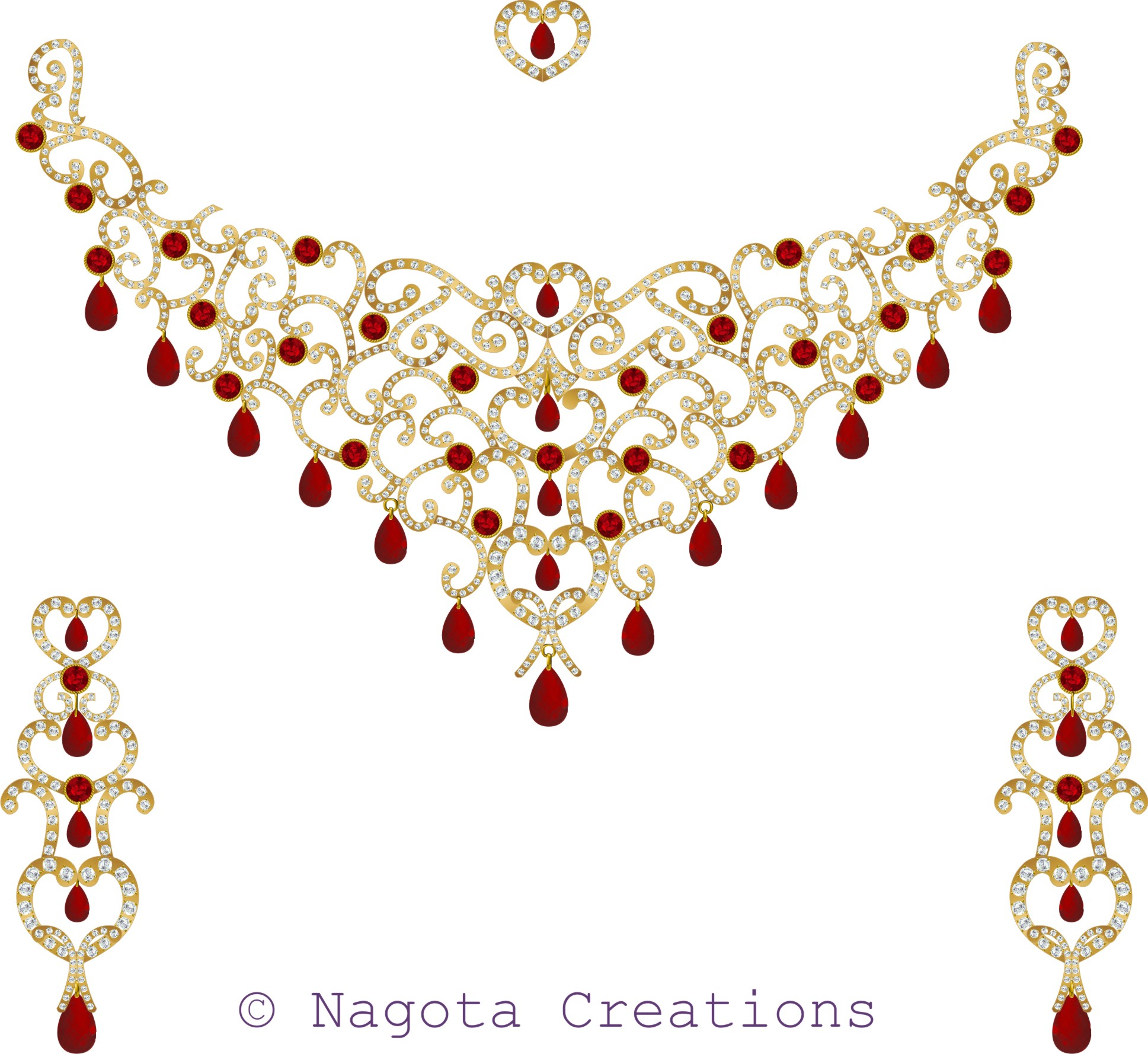 Gorgeous Bridal Necklace Set with Ruby and Diamonds in yellow gold