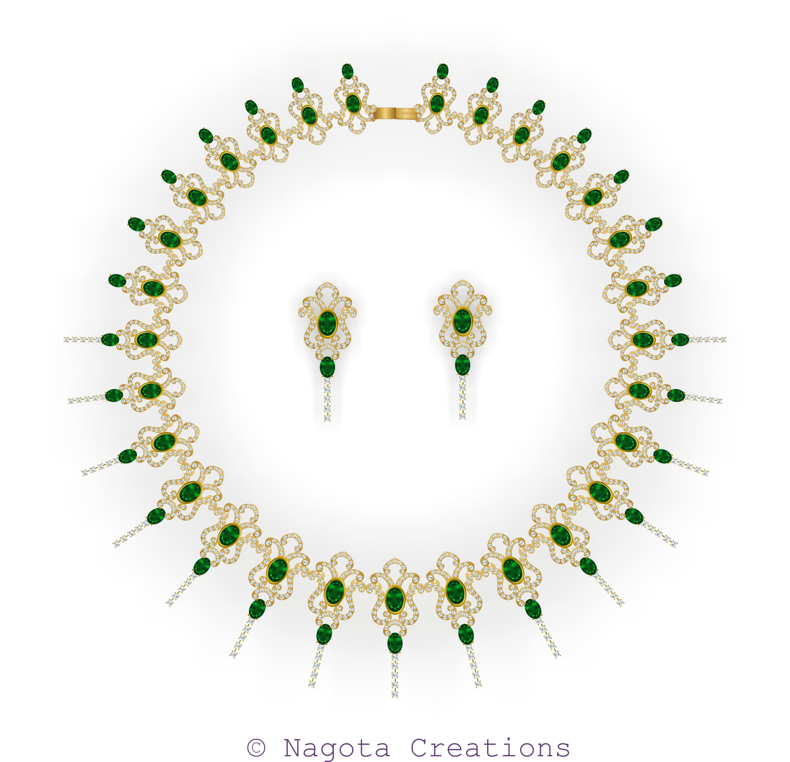 Beautiful Bridal Necklace Set with Emerald and Diamonds in Yellow