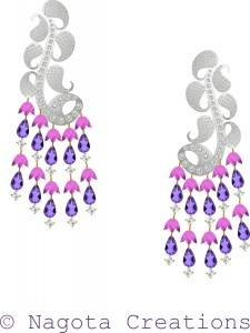 Unique and Trendy Danglers with White Gold , Amethyst , Diamonds and Pink Tourmaline