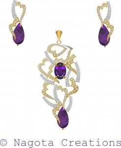 Pendant Set with White Gold , Yellow Gold , Amethyst and Diamonds