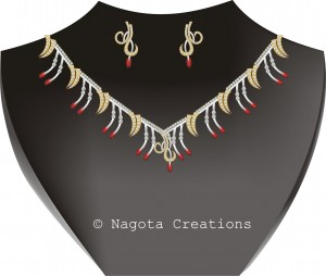 Party Wear Unique and Stylish Necklace Set with Ruby and Diamonds