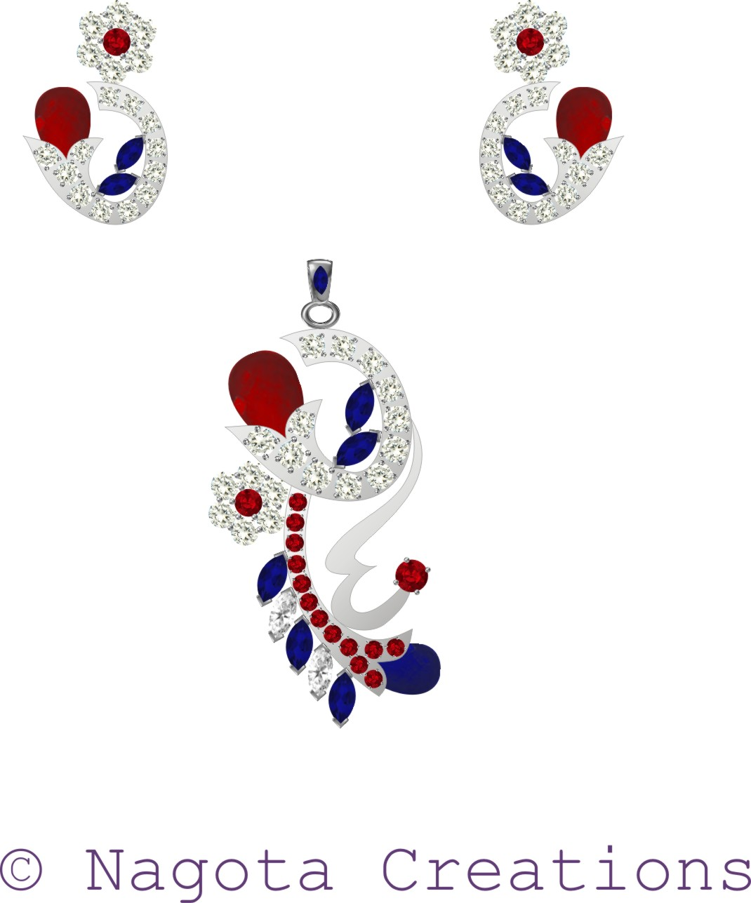 White gold pendant set with gorgeous combination of ruby diamond white gold pendant set with gorgeous combination of ruby diamond and blue sapphire aloadofball Image collections