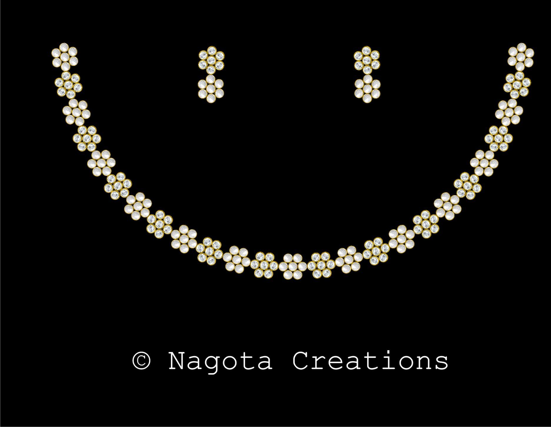 Kundan Meena Unique Necklace Set with 18ct white & 24ct yellow ...