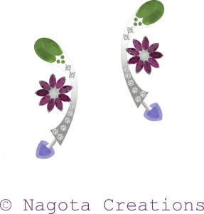 Danglers in White Gold with Peridot , Rhodolite , Amethyst and Diamonds