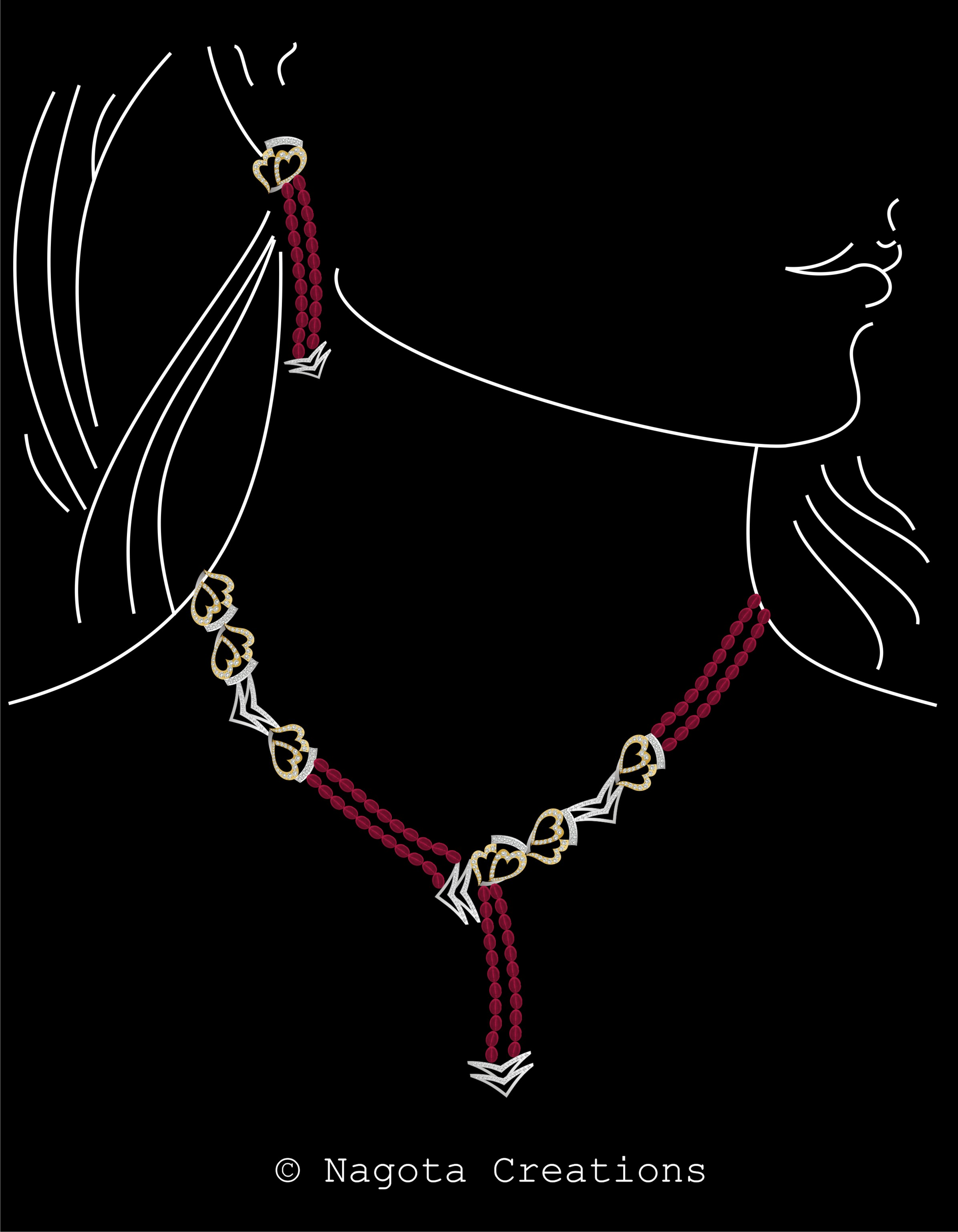 Beautiful and Gorgeous Diamond & Ruby Beaded Necklace Set