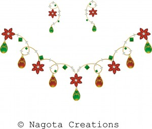 Yellow Gold Necklace Set with Ruby , Diamond , Emerald and Meena