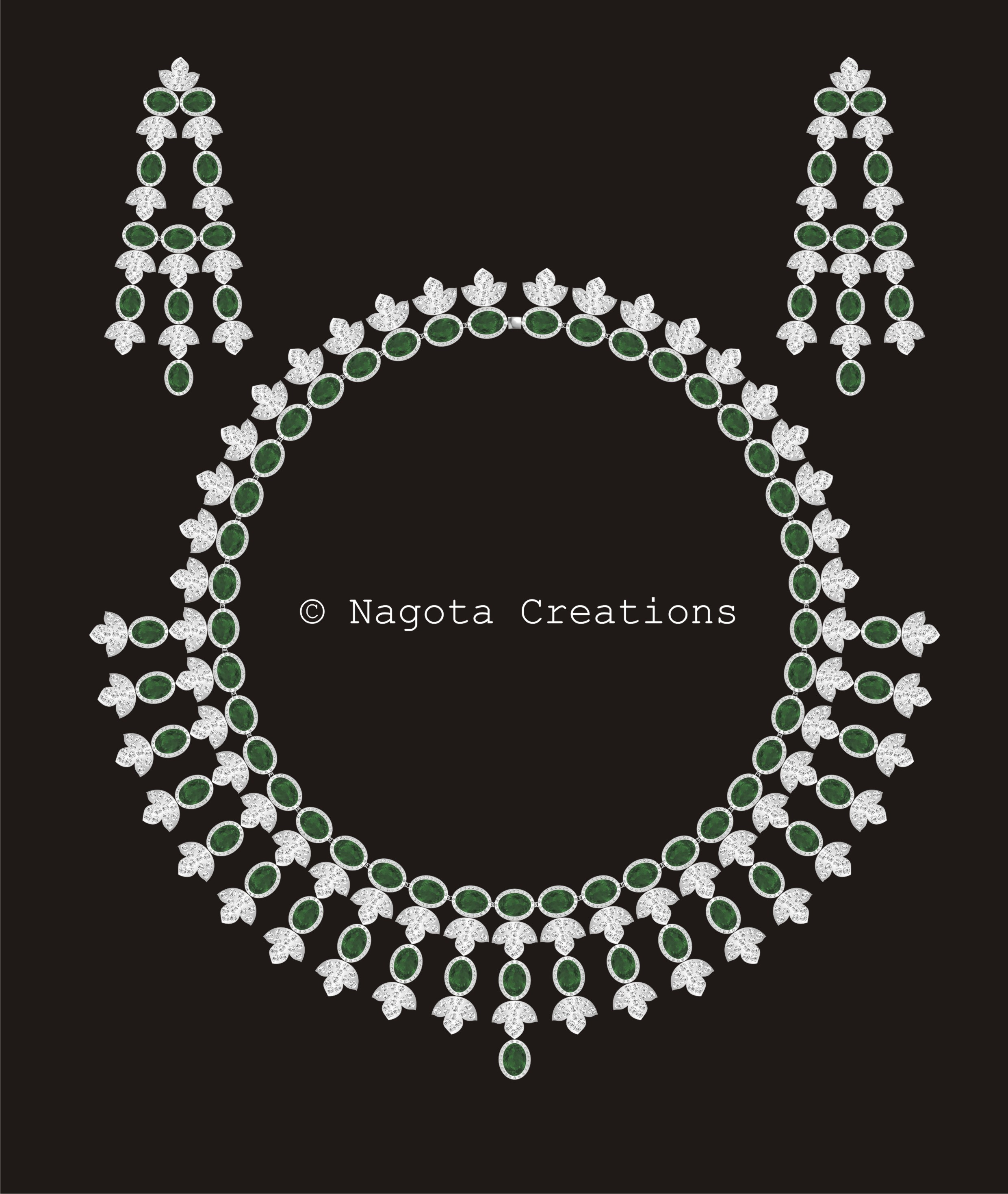 Beautiful Bridal Necklace Set with Diamonds and Emeralds in White