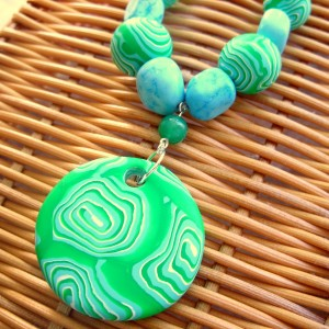 Turquoise and Quartz Necklace featuring Handmade Polymer Clay Beads
