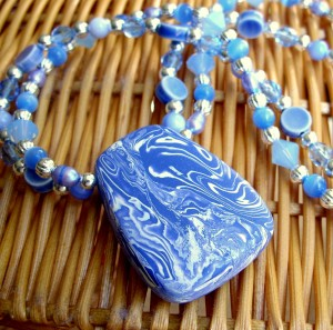Two-strand Majorelle Blue Necklace featuring Handmade Polymer Focal Bead