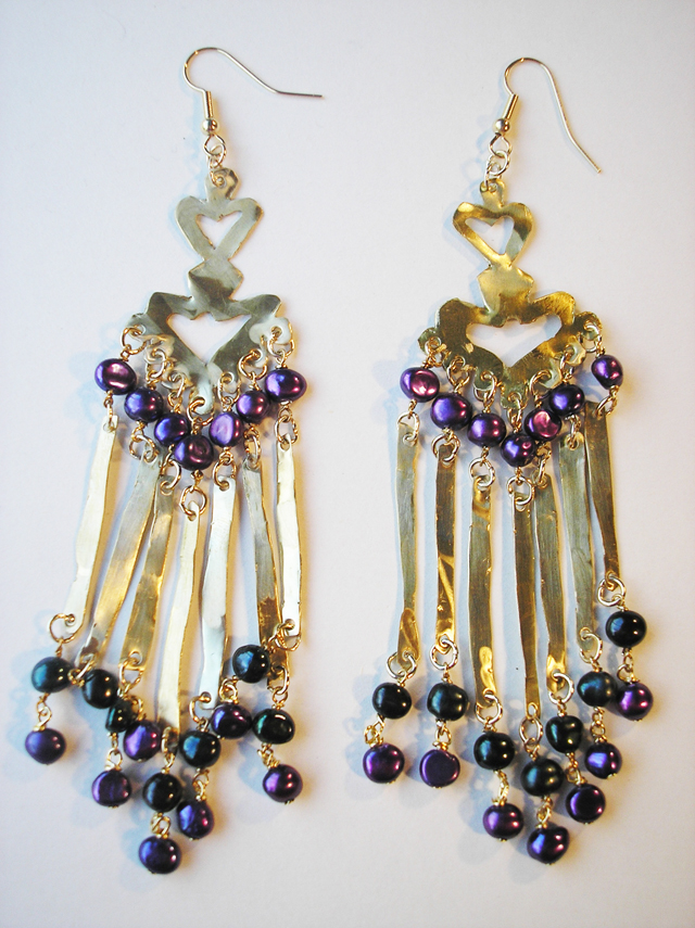 Brass,black and purple pearl earrings
