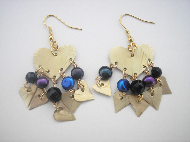 Brass and pearl heart earrings