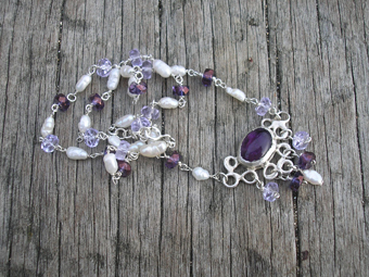 Amethyst,pearl and crystal necklace
