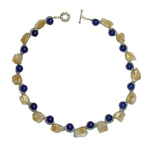 Stones used :Citrine, Blue agate, Seed beads