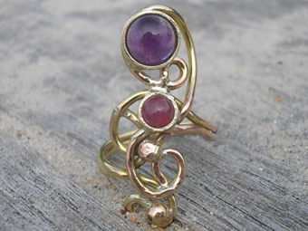 Gold,amethyst and pink tourmaline ring