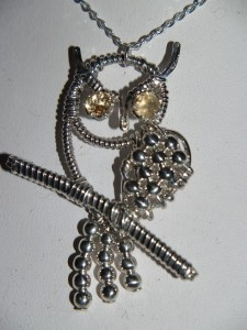 Owl pendant - Citrine with Sterling silver wire