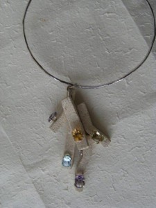 925 Silver handmade Necklace with Vicenza stone elements and semi precious stones