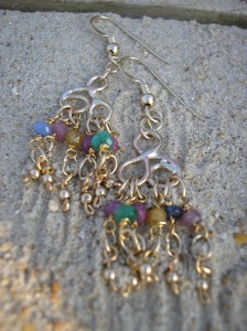 Gold,sapphire,emerald and ruby earrings