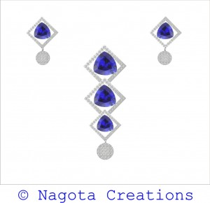 White Gold – Pendant Set with Gorgeous Blue Sapphire & Diamonds