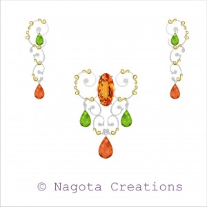 Pendant Set with Unique Combination of Peridot , Citrine and Diamond in yellow Gold & white gold