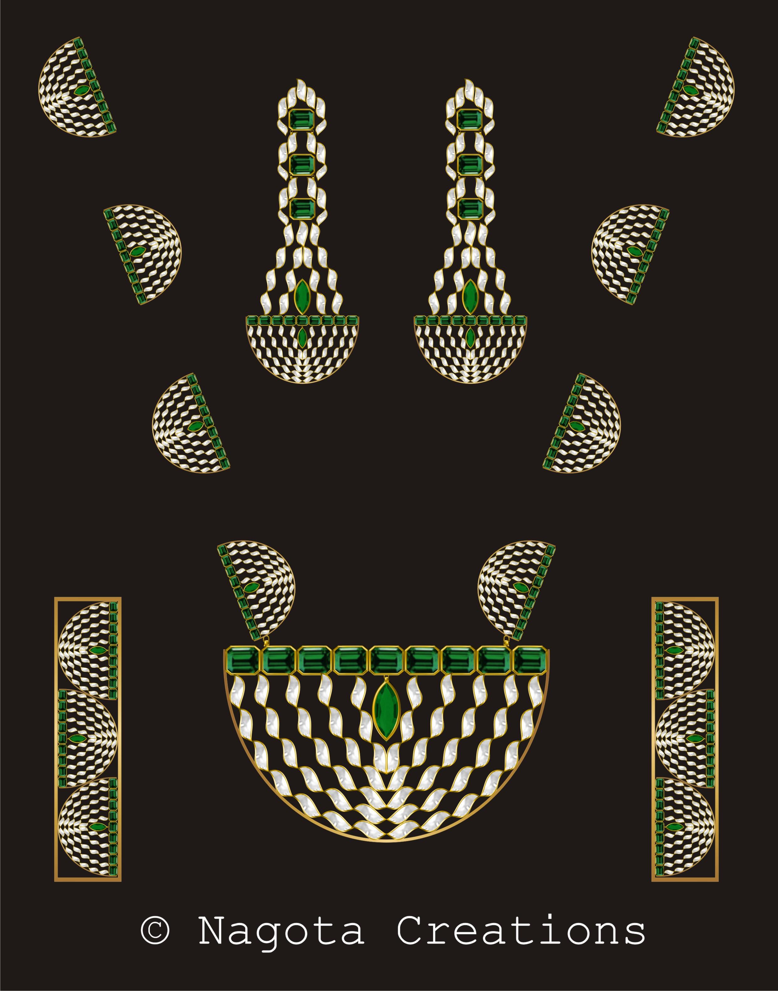 Marvelous & Symmetrical Kundan Meena Patria Haar Bridal Set with Emerald & Diamond Polkis