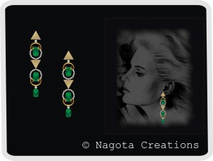 Appealing Geometrical Yellow Gold Chandeliers in Emerald and Diamond