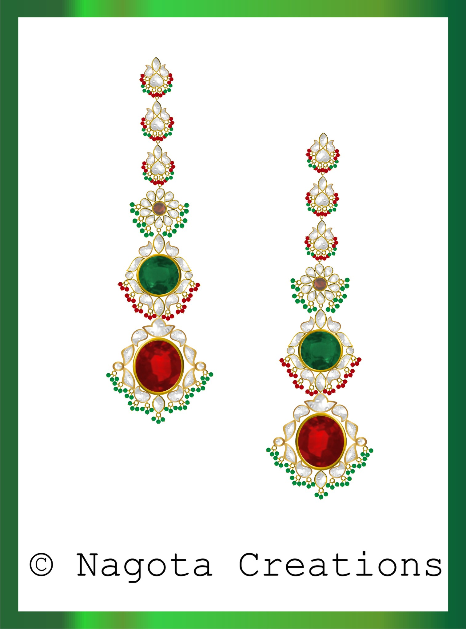 Admirable Traditional Kundan Meena Chandeliers with Emerald , Ruby & Diamond Polkis