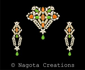 Luxuriant Kundan Meena Pendant Set with Cute Combination of Peridot & Citrine