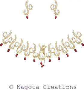 Appealing & Splendiferous Bridal Necklace Set with Ruby and Diamonds