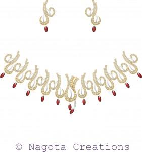 Appealing & Splendiferous Bridal Necklace Set with Ruby and Diamonds