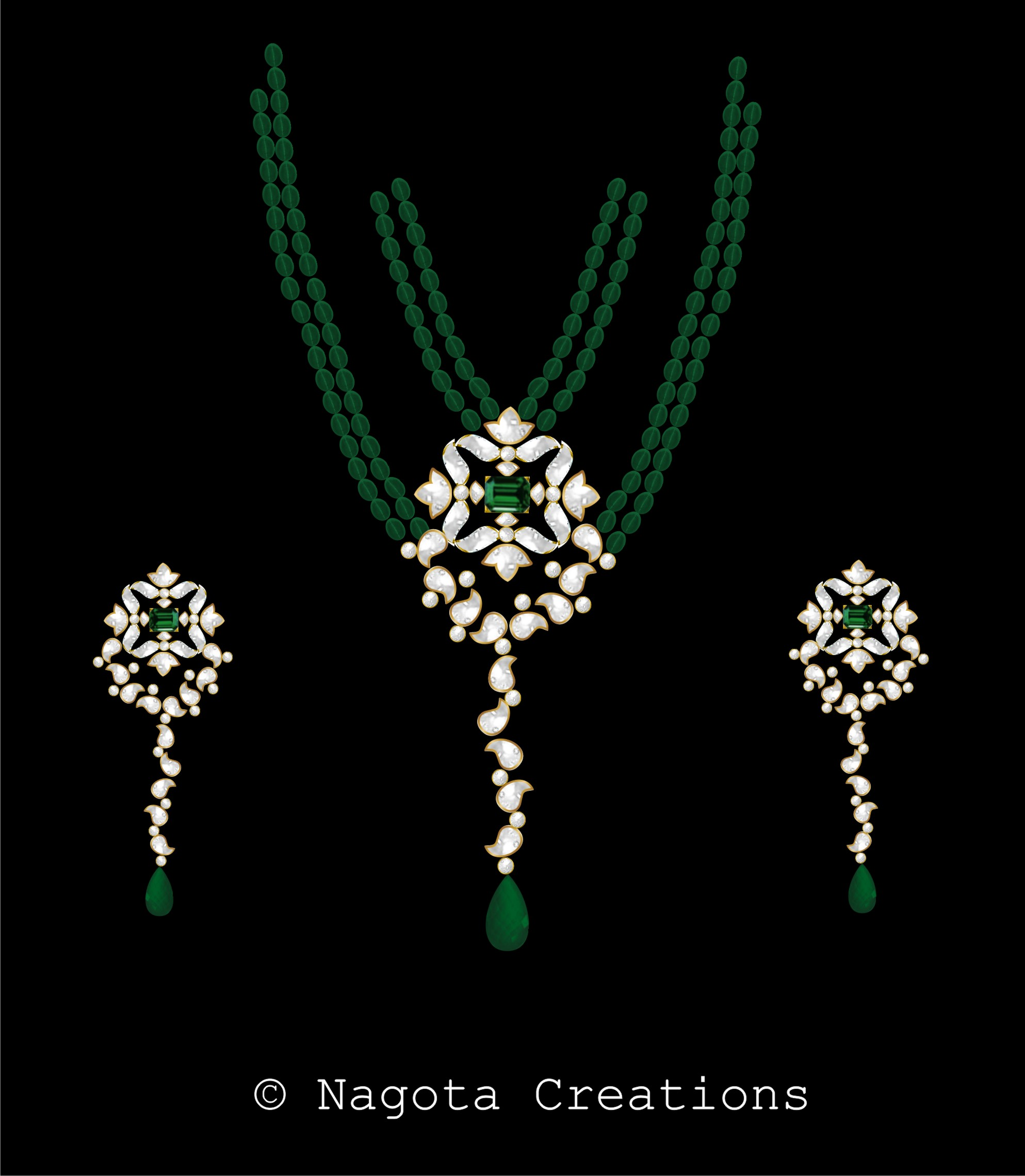 Appealing & Charming Beaded Kundan Meena Necklace Set with Emerald and Diamond Polkis