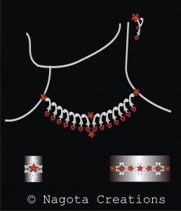 White Gold – Ruby & Diamond Full Necklace Set