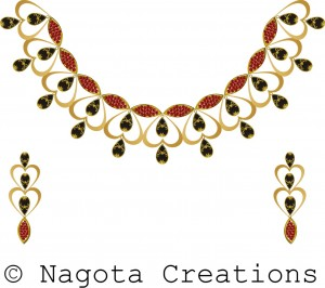 Traditional Yellow Gold Necklace Set with Ruby & Black Meena