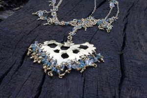 Brass and blues necklace