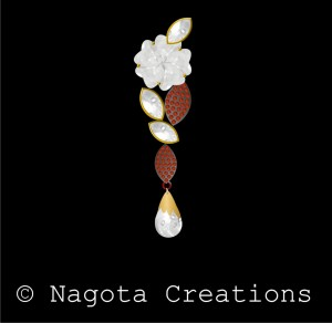 Kundan Carving Pendant with Black Metal & Yellow Gold in 18 Carat & 24 Carat