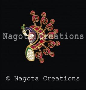 Beautiful Kundan Meena Pendant with Ruby & Diamond polkis, Elaborating Peacock with Enameling