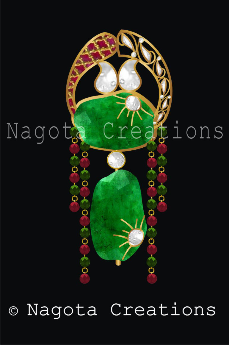 Unique Kundan Meena Pendant with Combination of Ruby , Emerald & Diamond Polkis Showing Nature Including Sun, Ice, Greenry &  Red Volcano Land