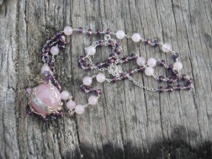 Rose quartz sphere necklace
