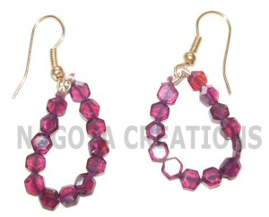 Stunning Garnets Earrings with Special Honey Comb Cutting
