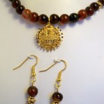 24K plated gold pendant with jasper beads