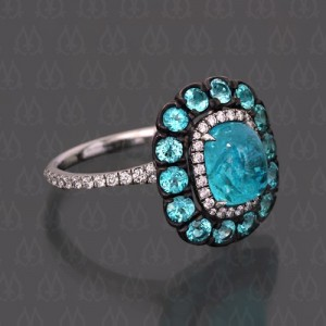 paraiba tourmaline halo ring