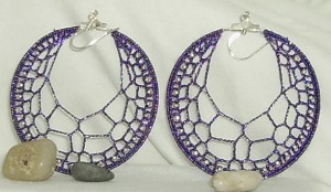 Dark purple sparke silver bead earrings