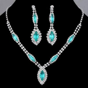 Bridal Mosaic Polish Blue Topaz pendant necklace by Sumaira Zulfiqar