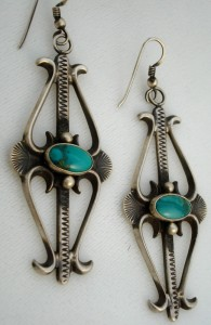 Oxidized Sterling & Turquoise Earrings, 3.25