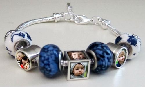 Blue Photo Bead Bracelet