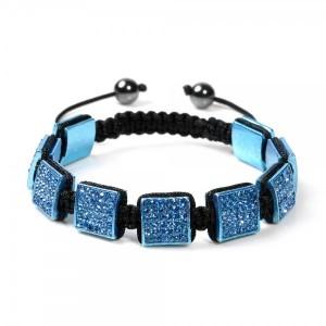 Blue 9-Square Shamballa Style Bracelet