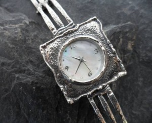 .925 Textured Sterling Silver and Mother of Pearl Watch