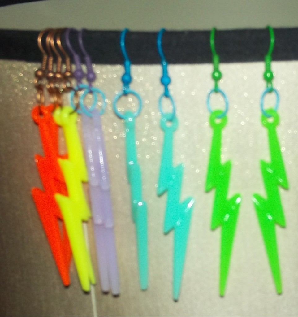 Neon Lightning Bolt Earrings by This N That Jewelry