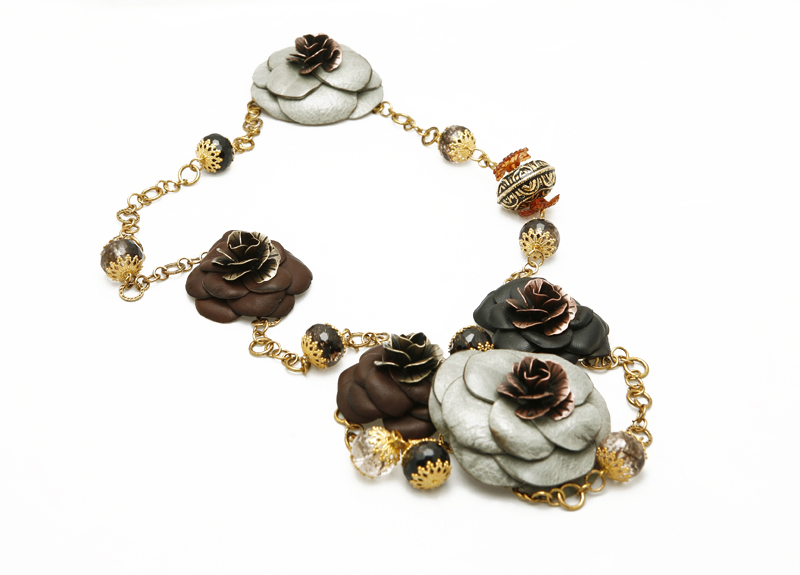 """Miss S"" Multi-Color Leather Flower Necklace"